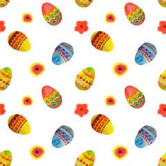 Seamless pattern with colorful watercolor Easter eggs and flowers on white background