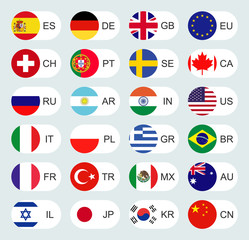 Vector icons of flags in circles. Flags of the world with countries.