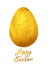 Golden egg and hand-drawn text Happy Easter on white background