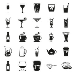 Drink beverage potables potable drinkables simple black icons set