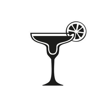 Margarita cocktail icon. Simple black design