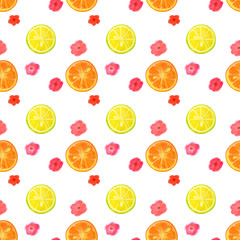 Seamless pattern with watercolor flowers and slices of lemon and orange