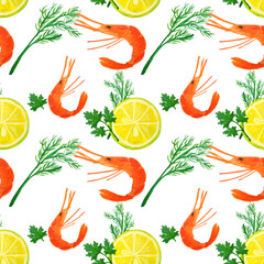Seamless pattern with watercolor slices of lemon, shrimps, dill and parsley