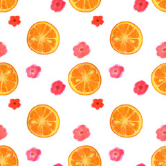 Seamless pattern with watercolor flowers and slices of orange