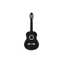 Vector illustration of acoustic guitar on white background