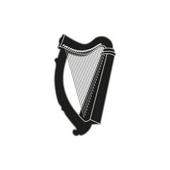 Vector illustration of harp on white background
