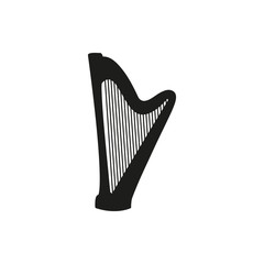 Vector illustration of Harp on white background