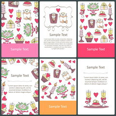 Vector set of prepared cards with hand drawn symbols of wedding