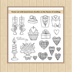Vector set with hand drawn doodles on the theme of wedding