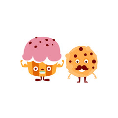 Humanized Cupcake And Cookie Illustration