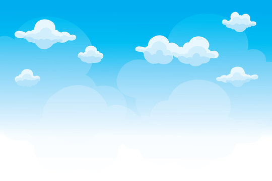 Group of clouds on blue sky, background of cartoon clouds
