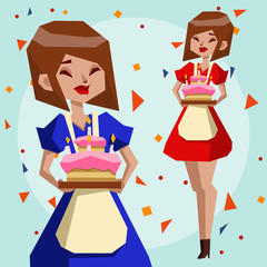 Cute girl with birthday cake on a gentle blue background. Birthday party. Polygon Illustrations