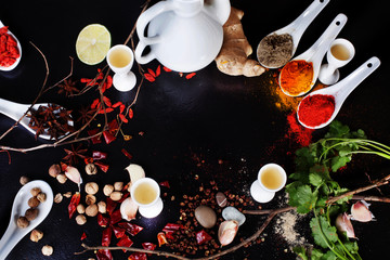space background spices chilli turmeric curry ingredients black top
