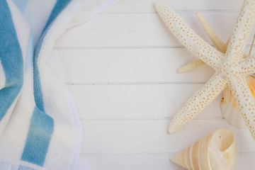beach towel and seashells frame