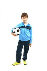 Cute boy is holding a football ball made of genuine leather. Isolated on a white background. Soccer ball