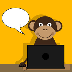 Vector illustrated cartoon monkey using a computer with blank speech bubble