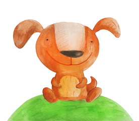 Dog on grass. Watercolor illustration
