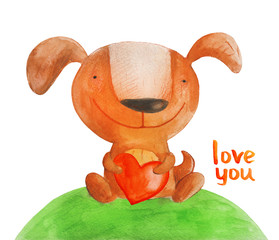 Dog with heart on grass. Love you. Watercolor illustration