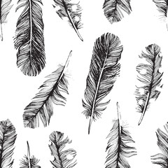 pattern with hand drawn feathers