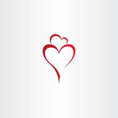 mother and daughter love heart icon red vector logo