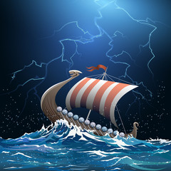 Viking medieval warship in stormy sea