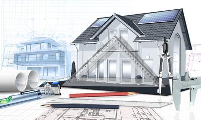 Hausplanung mit Bauzeichnung, Architekturbüro