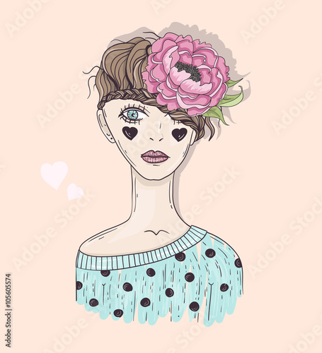 Cute Fashion Girl Illustration Young Girl With Braided Hair Fl Fichier Vectoriel Libre De