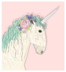 Cute unicorn with flowers. Fairytale vector illustration for kid