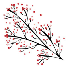 Branch of a tree with red flowers