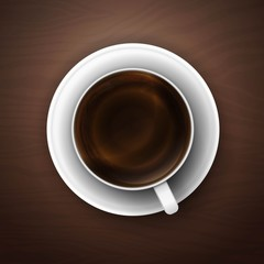 coffee cup against wooden background