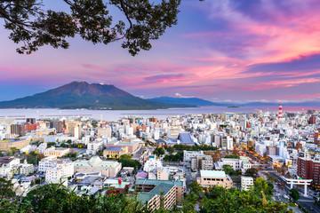 Fototapete - Kagoshima, Japan Skyline with Sakurajima Volcano.