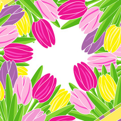 frame of blooming tulips with space for text illustration