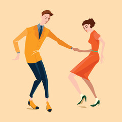 Young couple dancing lindy hop, vector illustration in a flat style
