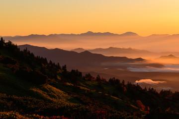 Shibu pass at dawn in Gunma and Nagano, Japan