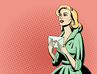 Pop art beautiful woman with love letter. Cartoon blonde hollywood movie star receive a postcard. Vintage advertising romantic poster. Comic hand drawn vector illustration.
