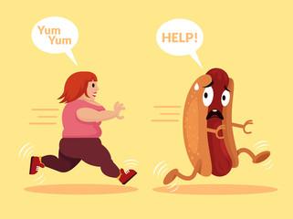 Fat girl is running. Vector flat cartoon illustration