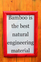 frame with quote on bamboo