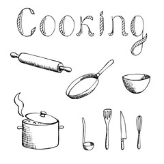 Cooking graphic art black white set illustration vector
