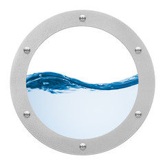 round porthole and sea wave on white background