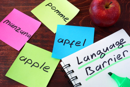 Apple written on papers on a different languages.  Language Barrier concept.
