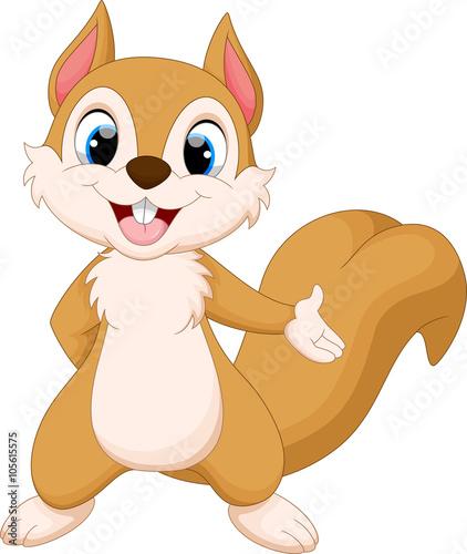 Cute baby cartoon squirrel