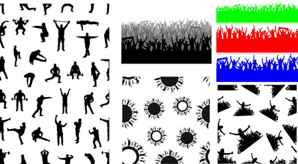 Big set of seamless repeating patterns of crowds and people silhouettes