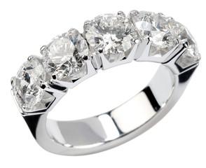 Five diamond silver ring