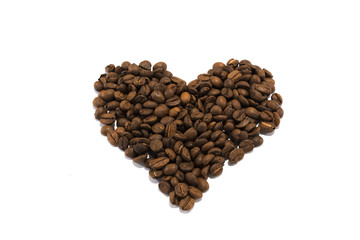 Heart made of roasted coffee beans