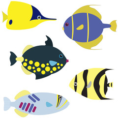 Tropical fish vector set