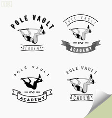 Set of logos with pole vaulting or jumping