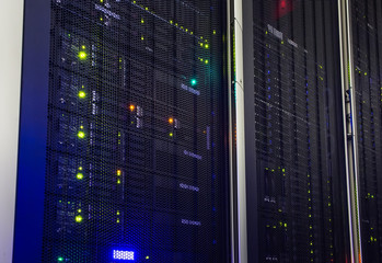 Fototapeta point of view modern mainframe disk storage in the data center