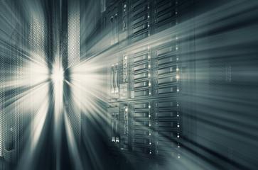 modern mainframe disk storage in the data center motion blur tone