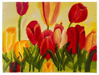 """Детский рисунок маслом на холсте """"Красные тюльпаны на жёлтом фоне"""""""