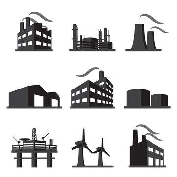 Industrial building factory icon set